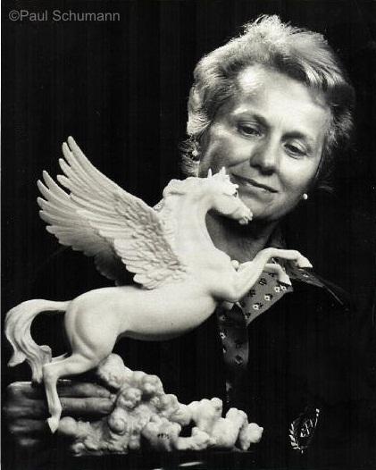 Marylin Chorlton with Cybis Pegasus ca early 1970s