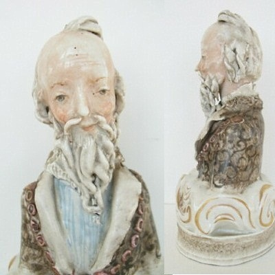 Bearded Man Bust by Maria Cybis view 2