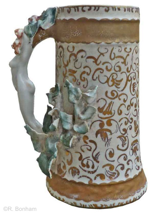 female handle mug with teal leaves and gilt accents by Cybis 1950s view 3