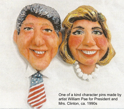 Bill and Hilllary Clinton character pins made by artist William Pae
